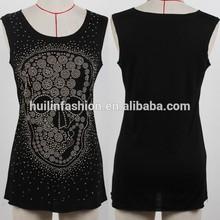 OEM service tops lastest beaded skull t shirt for girls