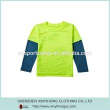 Popular Children Color Combination Cotton Long Sleeve T Shirts