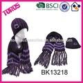 moda maglia cappello e sciarpa set con frange sciarpa a maglia 2015 ingrosso