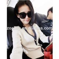 High Fashion Womens Clothing White Twisted Wool Cardigan Woman Sweater
