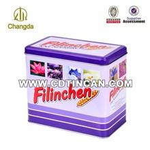 Promotional bottom price rectangular pet food packing tin box CD-035