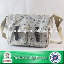 New style Saddle Bag, ladies promotion handbag, PVC Coated Cotton with leather trims.