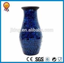 Deep Blue Mosaic Glass Vase With Round Bottom