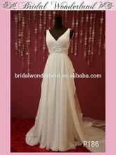 Stylish detachable train arab bridal gown wedding dress