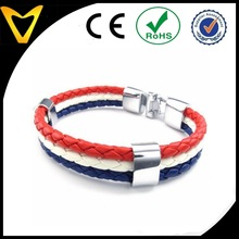 2015 design French France Flag Mens Womens Feather Bracelet