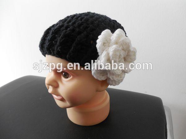 Knitting crochet pattern hat cute baby crochet hats caps with large flower