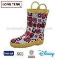 giallo stivali da pioggia ragazze fantasia personalizzati con manico di design