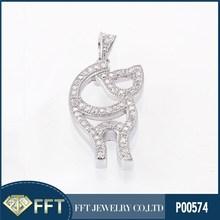 Standing cat AAA CZ 925 silver pendant