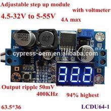 dc dc step up module/converter 4.5-32V to 5-55V 4Amax,94%,400KHz 50mV voltmeter