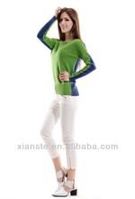 12gg 90% wool 10%cashmere women R neck sweater machine knitting pullover