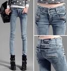 13860 New Arrival 2014 Women Autumn Winter Fashion Korean Style Rivet Decoration Slim Skinny Pencil Pants Jeans