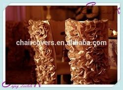 YHC#81 ruffled wildflower chair cover polyester banquet wedding wholesale cheap chiavari chair cover