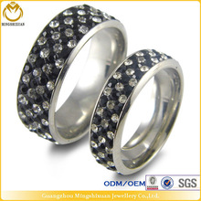 Cheap Jewelry Ring Clear Rhinestone Pave Stainless Steel Couple Ring