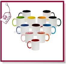 Factory Direct Sale 11oz Sublimation Ceramic Inner Color Printed Mug, Handle Color Mug for Advertising