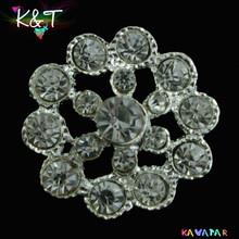 Tops! round star crystal rhinestone brooch