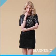 2015 short sleeve bonded leather decoration ladies black silk fashion dress