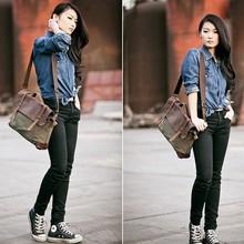 Men's Vintage Leather Canvas bag Messenger Shoulder Retro Briefcase Satchel Bag