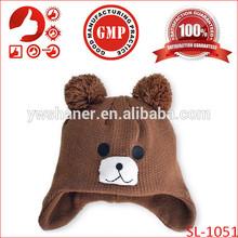 Wholesale baby winter hat with earflaps newborn bear winter kids hats animal pattern cute crochet baby hats