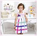 Nova moda chiffon vestidos para crianças de 11 anos, appliqued fitas coloridas roupas para crianças no exterior