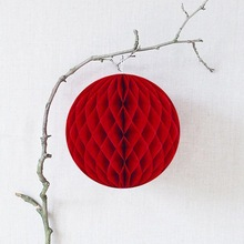 Tissue Paper Hanging Decorations RED HONEYCOMB BALL Tissue Paper Ball Lantern Decor Wedding Party Birthday