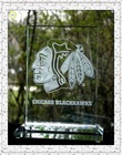 High end deep 3D laser engraved clear crystal glass chicago blackhawks plaque, crystal chicago bulls award