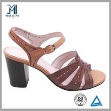 Unique upper cut out sandal leather high heel footwear