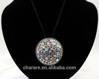Sparkling Round Rhinestone Necklace Pedent Necklace
