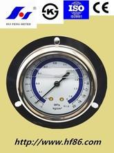 center back oil filled pressure gauge with front flange