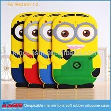 For ipad mini minions silicone case, despicable me minions soft rubber silicone case for iPad mini 1 2