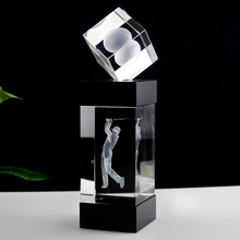 2014 wholesale gifts in pujiang K9 colorful crystal golf trophy design for business gift