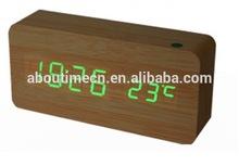 Cheap desk clocks sound control digital wood LED clock from fuzhou China