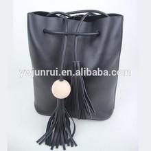 2014 designer lady leather bucket tassels bag shape