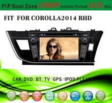 auto radio gps car dvd 1 din fit for Toyota corolla 2014 right hand drive with radio bluetooth gps tv pip dual zone