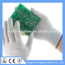 Hot sale CE EN388 breathable Carbon Fiber esd gloves work gloves for lights part handling/mobile phones/electronic goods assembl