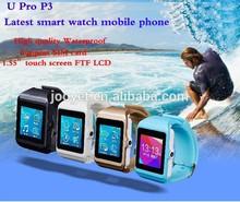 "Latest 1.55"" Bluetooth 3.0 waterproof Smart wrist Watch U-PRO P3 for Samsung Note 2/ HTC wrist watch mobile phone"