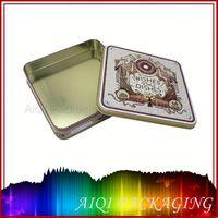 Professional manufacture hinged rectangular color pen thin metal tin box