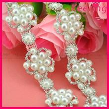 new arrival pearl rhinestone embellishment wedding trim crystal beaded chains WRC-271