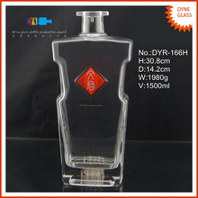 flat shaped big crystal hot stampped 1.5l wine glass bottle