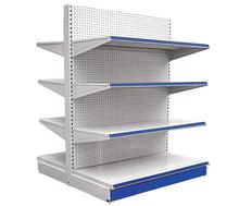 supermarket metal gondola shelf with wooden backboard