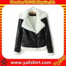 2014 fashion high quality bulk plain cheap fur collar wholesale black leather jackets fringed