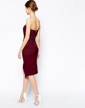 PETITE Asymmetric Wrap Bandeau Pencil Dress