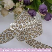 7/8 Grosgrain ribbon, 100yards glitter leopard ribbon