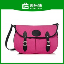 Pink Canvas Leather Lady Double Shell Bag