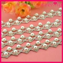 wholesale new arrival fashion handmade wedding accessory rhinestone pearl trim WRC-281