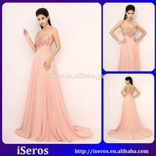 Graceful Spaghetti Orange Crystal Beaded Bling Backless Long Cheap Chiffon Girl's Prom Dress 2015