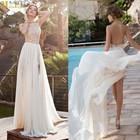 WD-481 Julie Vino Sexy Halter Top Neck Bare Back Lace Appliqued Flowy Chiffon Skirt High Slit Wedding Dress 2014