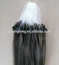 100% cheap remy micro loop natural hair extensions grey alibaba china