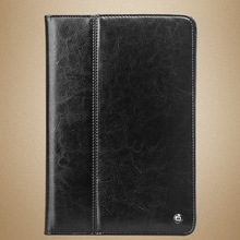Qialino 2014 Book style genuine leather wallet case for ipad mini 3 stand smart cover