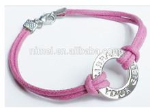 promotion nylon rope /leather thong ribbon metal charm bracelet