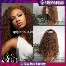 Hot! deep curl 4# medium brown peruvian virgin hair lace wig for lady